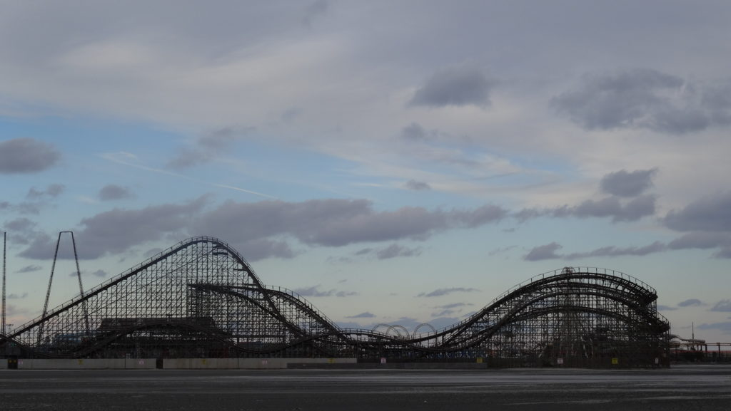 Wooden rollercoaster and beautiful sky Wildwood Boardwalk in December